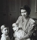 Princess Elizabeth with Princess Anne and Prince Charles