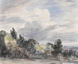 View over a wide landscape, with trees in the foreground, by John Constable
