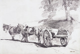 A Cart and Horses in a Lane, by John Constable