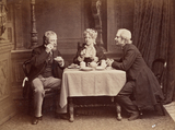 Marie Bancroft, Arthur Cecil and William hunter Kendal in Tom Robertson's The Vicarage