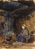 Watching The Pot Boil, A Cottage Interior, by John Frederick Lewis