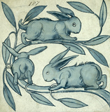 Rabbits running along a branch, by William De Morgan