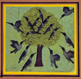A Tree with Crows Perched in its Branches, with Others Flying Around It