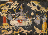 Goddess Kali with attendants and corpses
