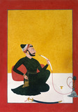 Raja Ajmat Dev of Mankot smoking a hookah