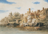 Fishermen's Houses by the Thames at Lambeth, by William Henry Pyne