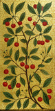 Cherries on a panel in the V&A's Morris Room