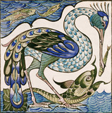 Heron and Dolphin, by William De Morgan