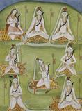 Shiva in eight yogic postures