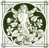 Winged nymph and violets, depicted on a tile by C.O.Murray