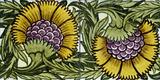 Sunflowers, tile design, by William De Morgan