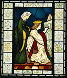 Stained glass panel depicting a scene from King Rene's honeymoon, by Sir Edward Coley Burne-Jones