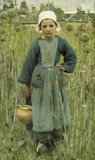 Peasant girl carrying a jar, Quimperle, by Sir George Clausen