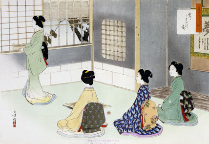 Arranging the charcoal basket, by Mizuno Toshikata