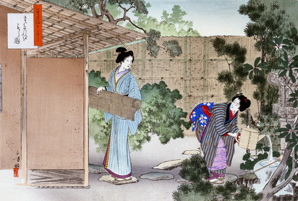Cleaning the ceremonial tea room and garden, by Mizuno Toshikata