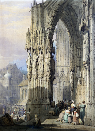 Porch of Ratisbon Cathedral, by Samuel Prout