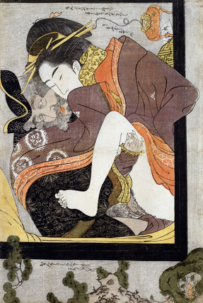 A European with a Courtesan, by Chokosai Eisho