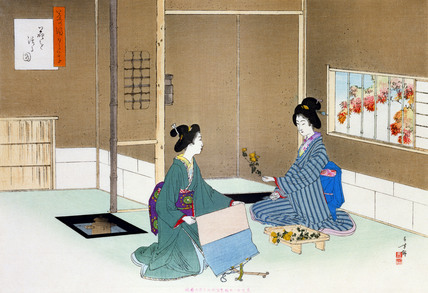 The flower arrangement, by Mizuno Toshikata