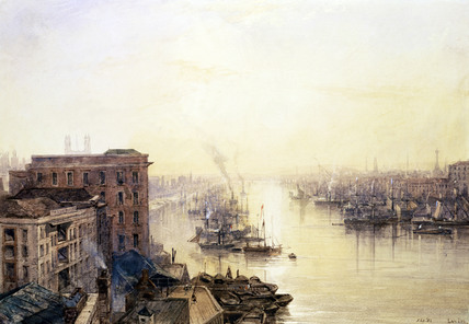 The pool from the Adelaide Hotel, London Bridge, by William Wyld