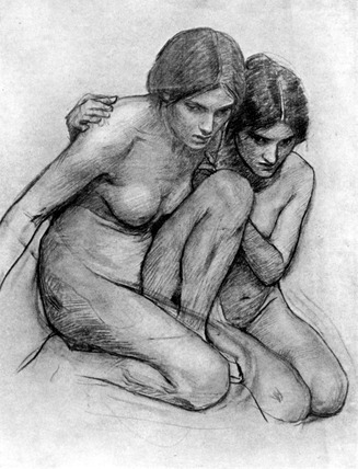 Study for The Nymphs Finding the Head of Orpheus, by John William Waterhouse. London, England, 1917