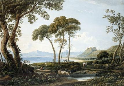 Landscape with Harlech Castle, by John Varley