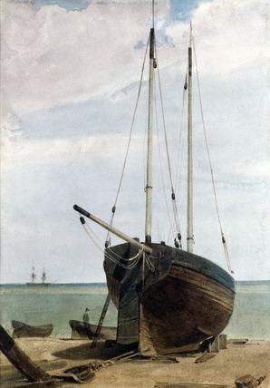 Deal Lugger and Boats, by F.L.T. Francia