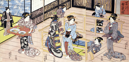 Interior view of a restuarant in the pleasure quarters along the banks of the Tamagawa, by Utagawa Kunisada
