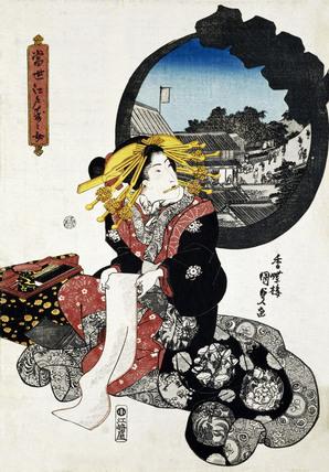 Seated Woman in Landscape, by Utagawa Kunisada