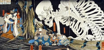 The Witch Takiyashi, daughter of Taira no Masakado, calling up a monstrous skeleton-spectre to frighten Mitsukuni, by Utagawa Kuniyoshi