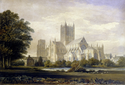 Wells Cathedral, by John Buckler. England, 19th century