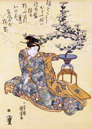 Woman and Chrysanthemum Plant, by Utagawa Kuniyoshi