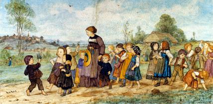 Promenade de L'ecole Panel, by Albert Anker