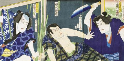 Ichimura Kakitu attacks Nakamura Nakazo with a knife, by Ichiyosai Kunichika