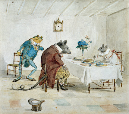 Frog, Rat & Mouse at Table, by Randolf Caldecott