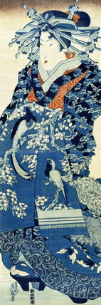Oiran parading wearing a blue dress, by Keisai Eisen