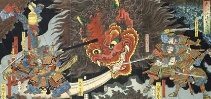 Minimoto Yorimitsu slaying the Giant Shutendoji, by Utagawa Yoshitsuya