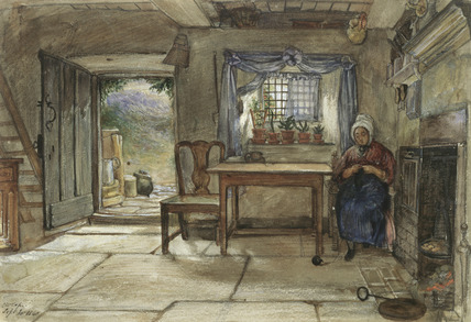 Woman in the interior of a cottage in Rievaulx, Yorkshire, by Charles West Cope
