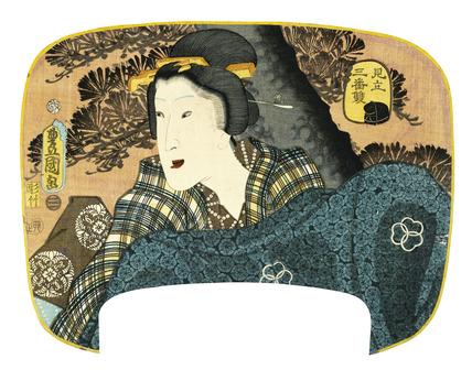 Allusion to the Character Okina, by Utagawa Kunisada