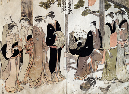 An Arranged Introduction at a Shrine, by Torii Kiyonaga
