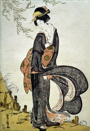 A Beauty Bothered by the Wind under a Willow, by Utagawa Toyohiro