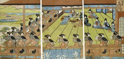 The 'Ise Ondo' Dance at the Restaurant Bizen-ya in Furuichi, by Utagawa Kunikane