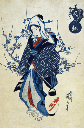 Evening Plum Blossom and a Geisha, by Keisai Yeisen