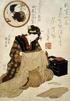 A Mole Transforming into a Quail in the Third Month, by Utagawa Kunisada