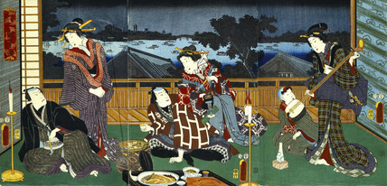 A wonderful evening view of Ryogoku, by Utagawa Kunisada