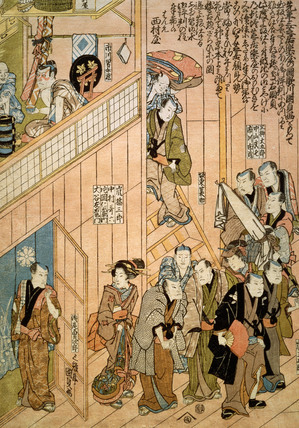 Dressing Room Scenes at Dotonbori Theatre in Osaka, by Utagawa Kunisada