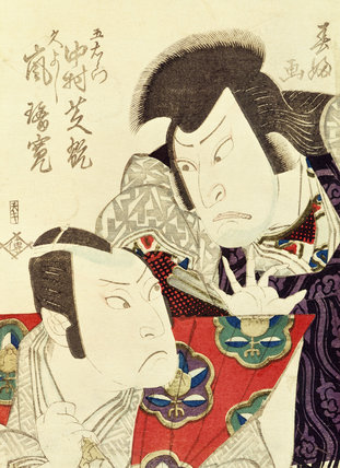 The actors Arashi Rikan and Nakamura Shikan, by Shunko Hokushu