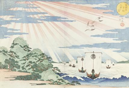 Ships entering Tompozan Harbour, by Gakutei