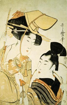 Two Girls as Ebisu & Daikoku, by Kitagawa Utamaro