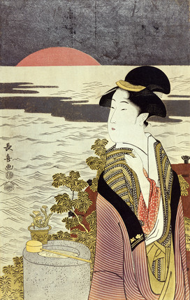 A girl and the sunrise over the sea at New Year, by Eishosai Choki