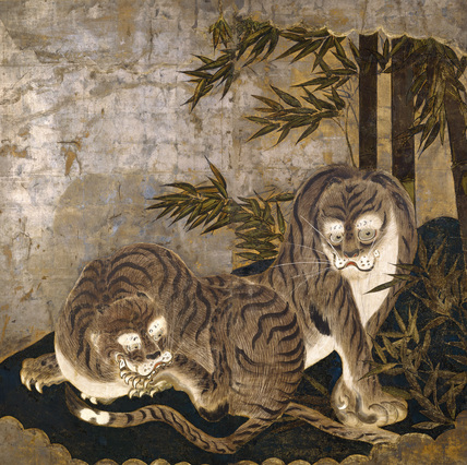 Tigers in a bamboo grove